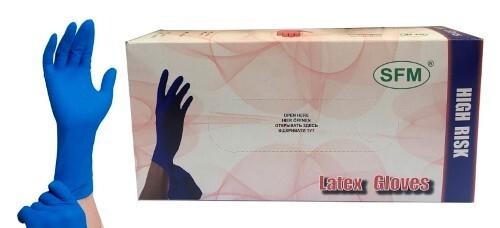 Купить Перчатки смотровые sfm латексные нестерильные m n25 пар/синий неопудренные текстурированные особо прочные манжета удлиненная хлоринация однократная цена