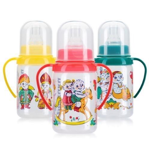 Купить Бутылочка полипропиленовая с ручками и силиконовой соской 6+ 125мл /11109 цена