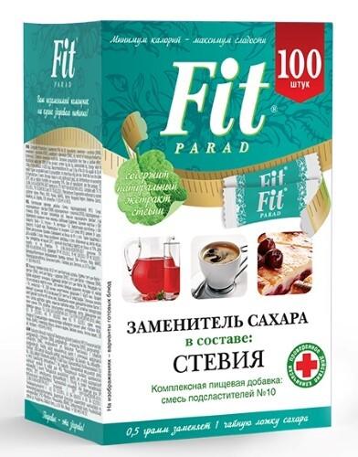 Купить ФИТ ПАРАД N10 СТОЛОВЫЙ ПОДСЛАСТИТЕЛЬ 100 САШЕ цена