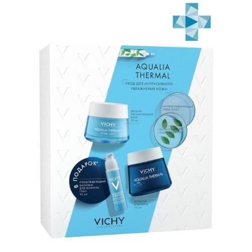 Набор aqualia thermal/крем увлажняющий легкий 50мл+ночной спа-уход 75мл+бальзам для контура глаз 15мл/