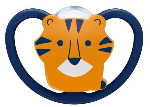 Купить Соска-пустышка ортодонтической формы из силикона space 6-18м/с контейнером/тигр цена