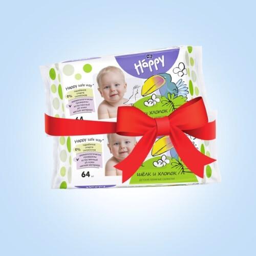 Купить Набор bella baby happy салфетки детские влажные шелк и хлопок n64 из 2-х уп по специальной цене цена