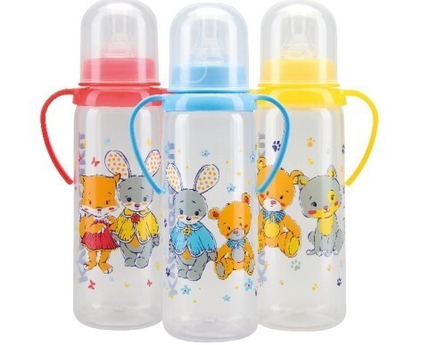 Бутылочка полипропиленовая с ручками и силиконовой соской 6+ 250мл /11005