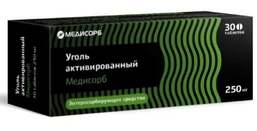 Купить Уголь активированный медисорб 0,25 n30 табл цена