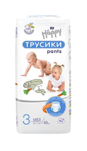 Купить Baby happy подгузники-трусики гигиенич для детей размер 3/midi 6-11кг n48 цена