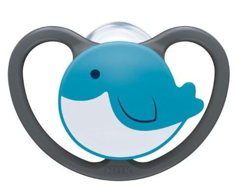 Купить Соска-пустышка ортодонтической формы из силикона space 0-6м/с контейнером/кит цена