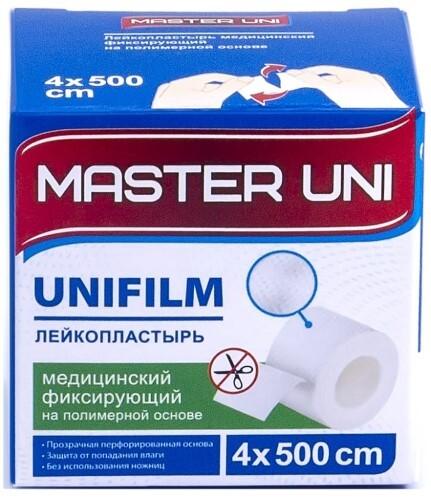 Купить ЛЕЙКОПЛАСТЫРЬ MASTER UNI UNIFILM МЕДИЦИНСКИЙ ФИКСИРУЮЩИЙ НА ПОЛИМЕРНОЙ ОСНОВЕ 4X500СМ цена