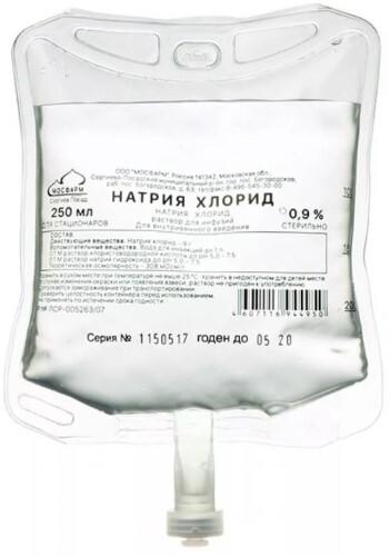 Купить Натрия хлорид 0,9% 250мл n28 контейнер полимер р-р д/инф цена