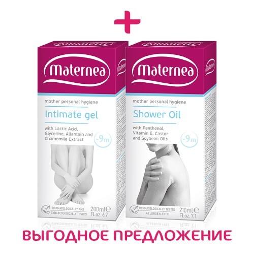 Купить Набор maternea личная гигиена масло для душа 210мл + гель для интимной гигиены 200мл по специальной цене цена