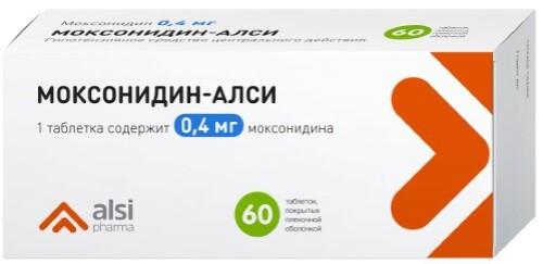 Купить МОКСОНИДИН-АЛСИ 0,4МГ N60 ТАБЛ П/ПЛЕН/ОБОЛОЧ цена