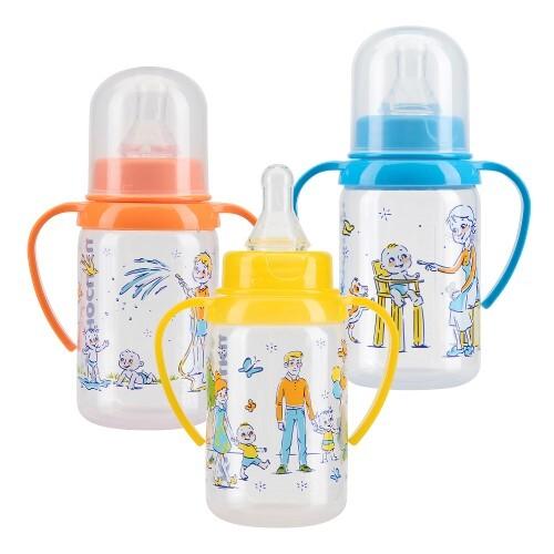 Купить Бутылочка полипропиленовая с ручками и силиконовой соской 6+ 125мл /11140 цена