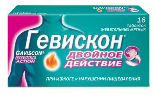 Купить Гевискон двойное действие таб n16 жев/мята цена