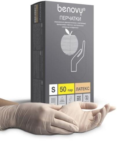 Купить Перчатки смотровые benovy латексные нестерильные опудренные s n50 пар цена