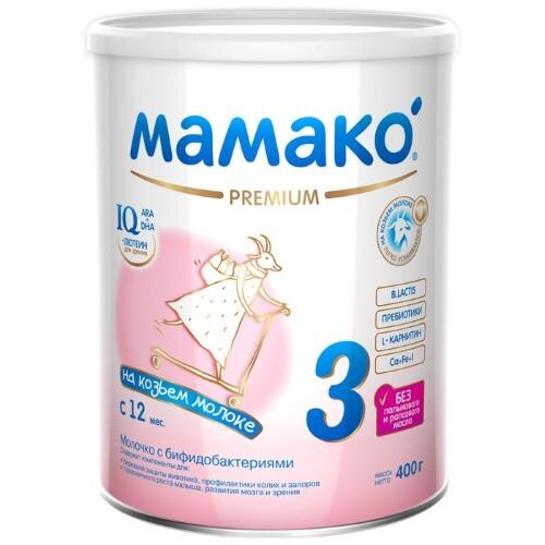 Купить МАМАКО-3 PREMIUM СМЕСЬ СУХАЯ НА КОЗЬЕМ МОЛОКЕ СТАРШЕ 12 МЕС 400,0 цена