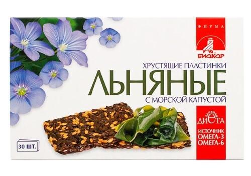 Купить Льняные хрустящие пластинки биокор с морской капустой цена