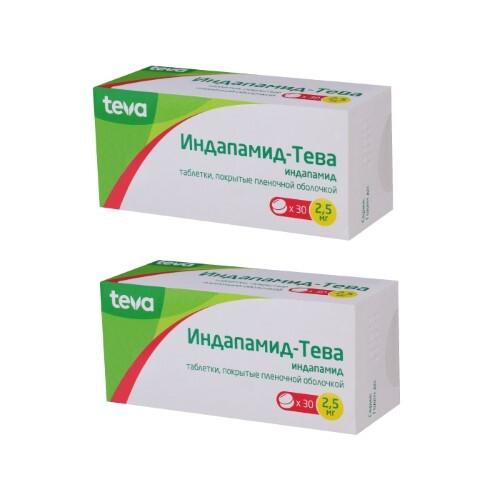 Купить Набор индапамид-тева 0,0025 n30 табл п/плен/оболоч - 2 упаковки по специальной цене цена