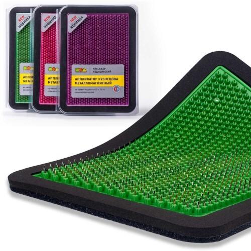 Купить Массажер медицинский аппликатор кузнецова металломагнитный на мягкой подложке полиметаллический 15х22см/зеленый цена