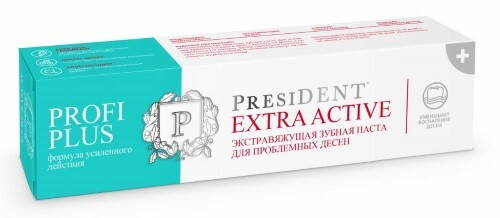 Купить Profi президент профи плюс extra active экстравяжущая зубная паста 30мл цена
