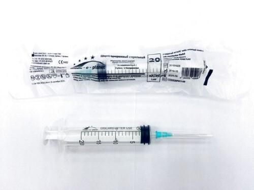 Купить Шприц 20мл 3-х компонентный medic-o-planet луер c надетой иглой 21g 0,8x40мм n1 цена