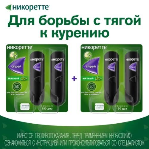 Никоретте® спрей для слизистой оболочки полости рта дозированный мятный, 1 мг/доза №2 х 2
