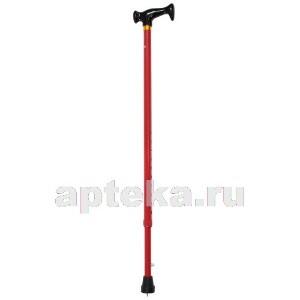 Трость amcт23 инвалидная телескопическая металлическая ортопедическая с пластиковой рукояткой /красная/