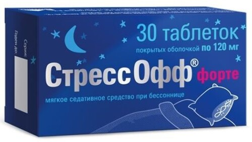 Купить СТРЕССОФФ ФОРТЕ 0,120 N30 ТАБ П/О цена