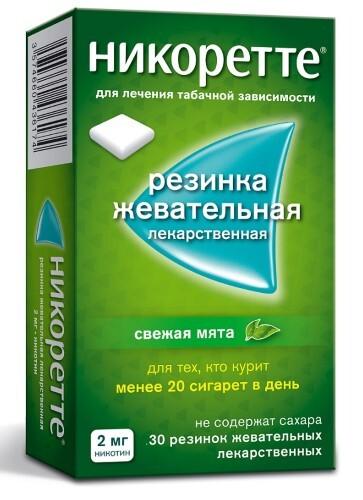 Купить Никоретте 0,002 n15x2 жев резинка/свежая мята/ цена