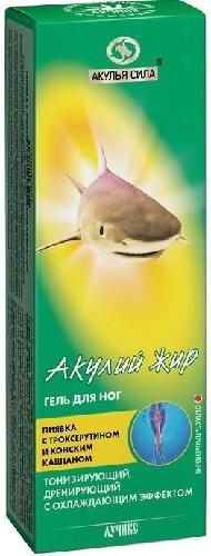 Купить Акулья сила гель для ног пиявка с троксерутином и конским каштаном 75мл цена