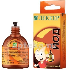 Купить Йод-леккер 5% раствор спиртовой 20мл флакон с полимерной кистью цена