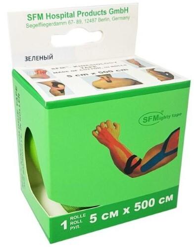 Купить Лента кинезиологическая sfm-plaster на хлопковой основе в рулоне 5х500см n1/зеленый/кинезио тейп цена
