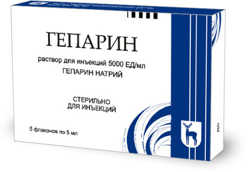 Купить Гепарин 5000ме/мл 5мл n5 флак р-р в/в п/к /мэз/ цена