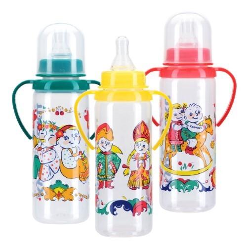 Купить Бутылочка полипропиленовая с ручками и силиконовой соской 6+ 250мл /11113 цена