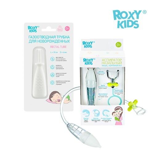 Купить Набор  roxy-kids аспиратор назальный +roxy-kids трубка газоотводная для новорожденных со скидкой 13% цена