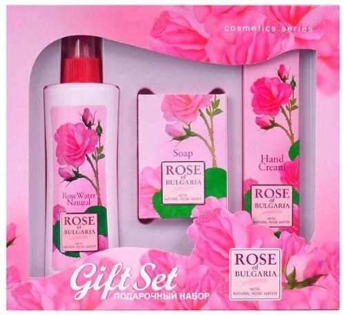 Купить Набор подарочный n2/натуральная розовая вода 230мл+мыло с частицами лепестков роз 100г+крем для рук 75мл/ цена