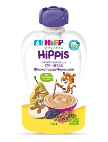 Купить Hippis пюре фруктовое-зерновое фруктовая каша с гречкой яблоко-груша-чернослив 100,0 цена