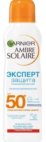 Купить Ambre solaire спрей сухой солнцезащитный эксперт защита spf 50+ 200мл цена