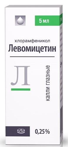 Купить ЛЕВОМИЦЕТИН 0,25% КАПЛИ ГЛАЗ 5МЛ ФЛАК/КАП цена