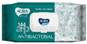 Влажные салфетки family для всей семьи антибактериальные n144 с крышкой
