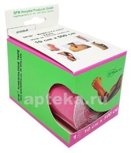 Купить Лента кинезиологическая sfm-plaster на хлопковой основе в рулоне 10х500см n1/розовый/кинезио тейп цена