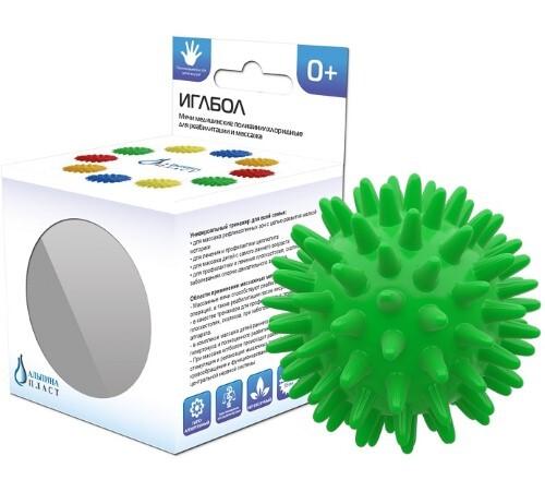 Купить Мяч медицинский поливинилхлоридный массажный альпина пласт/иглбол 65мм/зеленый цена