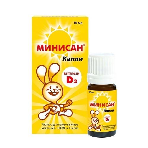Купить МИНИСАН ВИТАМИН Д3 10МЛ КАПЛИ цена