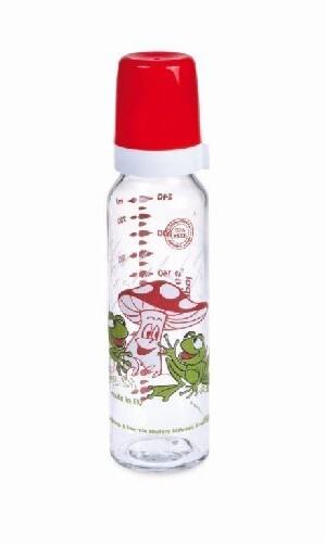 Бутылочка стеклянная с силиконовой соской 240мл 12+/красный