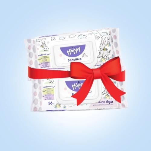 Купить Набор bella baby happy салфетки детские влажные sensitive алоэ вера n56 из 2-х уп по специальной цене цена
