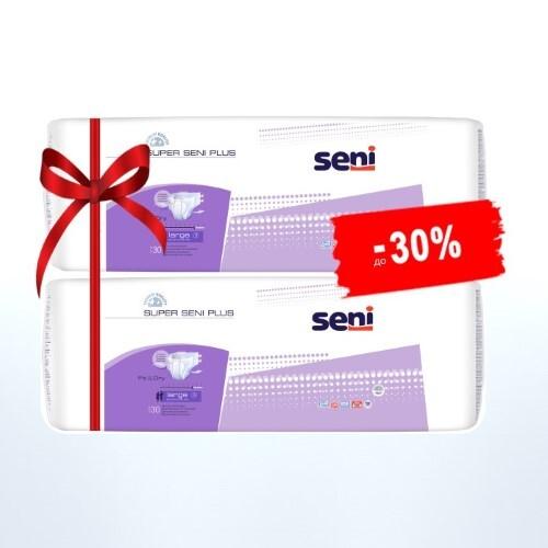 Купить Набор seni super plus подгузники д/взр extra large n30 из 2-х уп по специальной цене цена