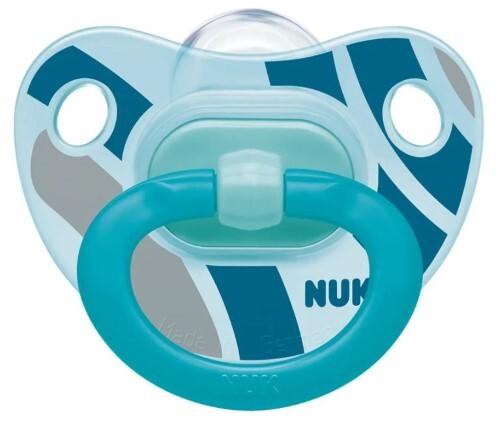 Купить Соска-пустышка ортодонтической формы из силикона happy days 18-36м/с контейнером/полоски синие цена