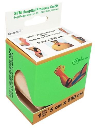 Купить Лента кинезиологическая sfm-plaster на хлопковой основе в рулоне 5х500см n1/бежевый/кинезио тейп цена