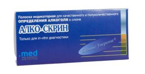 Полоска индикаторная для качественного и полуколичественного определения алкоголя в слюне (алко-скрин)