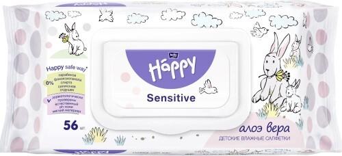 Купить Салфетки детские влажные sensitive алоэ вера n56 цена