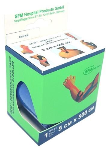 Купить Лента кинезиологическая sfm-plaster на хлопковой основе в рулоне 5х500см n1/синий/кинезио тейп цена