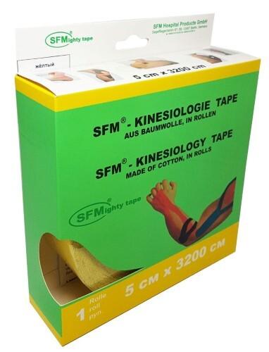 Лента кинезиологическая sfm-plaster на хлопковой основе в рулоне 5х3200см n1/желтый/кинезио тейп